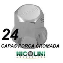 Kit 24 Capas Porca Cromadas Nicolini Roda Caminhão