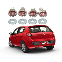 Kit Parafusos De Placa Cromado C/ Logo Emblema Fiat Palio