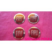 Kit Emblemas Aluminio Fiat Vermelho 48mm P/ Rodas/calotas