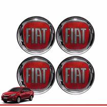 Jogo Emblemas Fiat Vermelha Calota Roda Esportiva