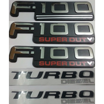 Kit Emblemas F-100 Super Duty Turbo Diesel 5 Peças + Brinde