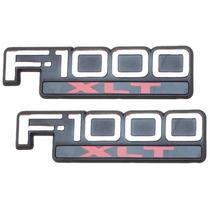 Par Emblemas Ford F1000 Xlt Cromados - Modelo Original