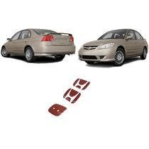 Par Aplique Vermelho Emblema Civic 01 A 05 Traseiro Frontal
