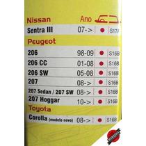 Palheta Parabrisa Dyna Silicone Peugeot 206 /..09 + Tras