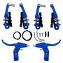 Freio V-brake Nylon Azul Mtb Bike C/ Manete Cabos E Reparos