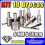 10 Brocas Diamantadas P/ Vidro 6-8-10-12-14-16-18-20-22-30mm