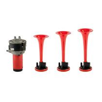 Kit Buzina Automotiva Eletropneumática 3 Cornetas Vermelhas