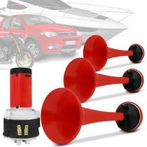 Buzina Automotiva Eletropneumática Com 3 Cornetas Vermelhas