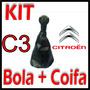 Kit Bola De Câmbio+coifa Couro Citroën C3 Padrão Original ®