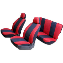Capa De Banco Automotiva Vermelha/preta - 8 Peças Carrhel