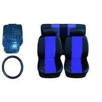 Kit Azul - Capa De Banco + Tapete + Volante