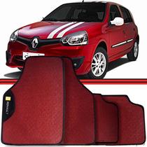 Jogo Tapete Automotivo Carro Clio Scenic Logan Vermelho