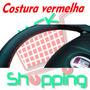 Capa Revestimento Volante Couro Ecológico Cor Preto/vermelha
