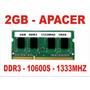 Memória 2gb 10600s Apacer Ddr3 Notebook 1333mhz