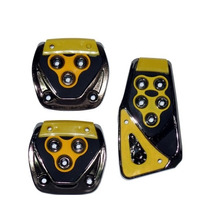 Pedaleiras Esportivas Automotivas Amarela Tuning Kit 3 Peças