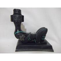 B. Antigo - Chac Mool Escultura Em Pedra Obsidiana