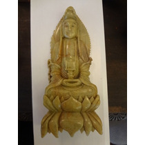 Escultura Da Kuan Yin Em Pedra Dura Antiga