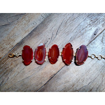 Pulseira Pedra Brasileira Àgata Vermelha (marrom)