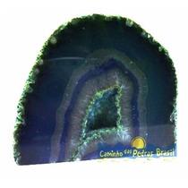 Geodo De Ágata Azul Pedra Brasileira Natural Ótima Qualidade