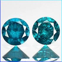 Par De Diamantes Azuis Peso Total 0.26 Cts - I1