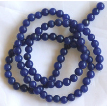 Jade Azul Escuro Bola Esfera Lisa 4mm Fio Teostone Colar 209