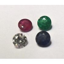 Brilhante , Safira , Rubi , Esmeralda , 4 Pedras , 3mm Cada