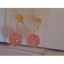 Loucu!brinco Gancho Com Cristal Cherry Esfera Com Ouro 18k-