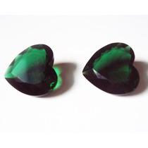 Cristal Esmeralda Coração - 15mm - 2 Pedras.