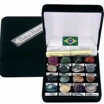 Estojo Coleção 16 Pedras Brasileiras Semipreciosas Souvenir