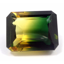 Joalheriavip 29.50cts Quartzo Bicolor Verde Amarelo Natural