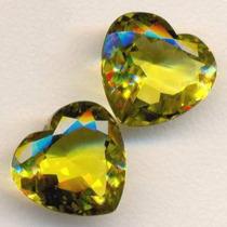 Lote 2 Gemas Green Gold Coração Natural 21.85 Cts G-5220