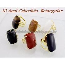 10 Anel Grande Pedra Retangular Ajustavel Revenda Atacado