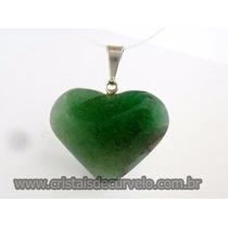 Pingente Coração Pedra Natural Quartzo Verde Frete Barato