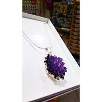 Gargantilha/colar Pedra Drusa De Ametista C/caixa P/presente