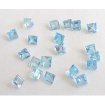 Pedras Preciosas Topazio Azul Carre 3mm