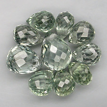 Belo Lote De 10 Safiras Verdes Briolete C/ Furo Natural!