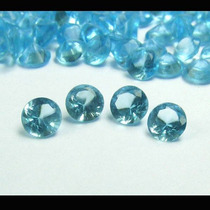 Lote Kit 4 Pedras Redondas Topázio Azul Limpo Diamantes 65pt