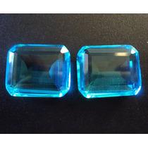 Frete Gratis Cristal Topázio Azul Legítimos 25x20 - 2 Pedras
