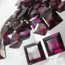 Gemas 5mm Rodolitas Vinho Par Pedra Natural Quadrada Carrê