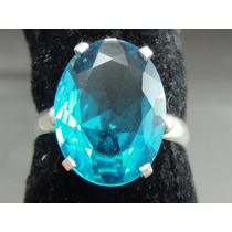 Lindo Anel Em Prata 950 Com Turmalina Azul Neon Extra