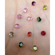 Lote Com 15 Pedras Turmalina Multicoloridas Redondo 3 Mm