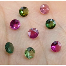 10 Pedras Turmalina Multicoloridas Redondo 4 Mm