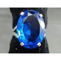 Lindo Anel Em Prata 950 Com Tanzanita Azul Oval