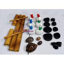 Kit Para Massagens Com Pedras Quentes Bambus Pindas Conchas