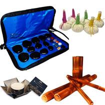 Kit Para Massagens Com Pedras Quentes Bambus Pindas E Vela