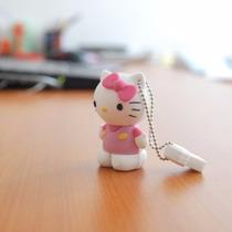 Pen Drive Usb 2.0 Emborrachado Hello Kitty 4 Gb Na Cor Rosa