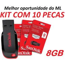 Pen Drive Atacado Sandisk 8gb (kit 10 Peças) Frete Barato