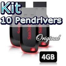 Pendrive Kit 10 Pendrivers 4gb Sandisk Original Promoção!