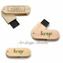 Kit 10 Pen Drives 4gb Giratório Madeira Personalizados