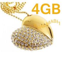 Pendrive 4gb Coração De Cristal Dourado - Já Está No Brasil